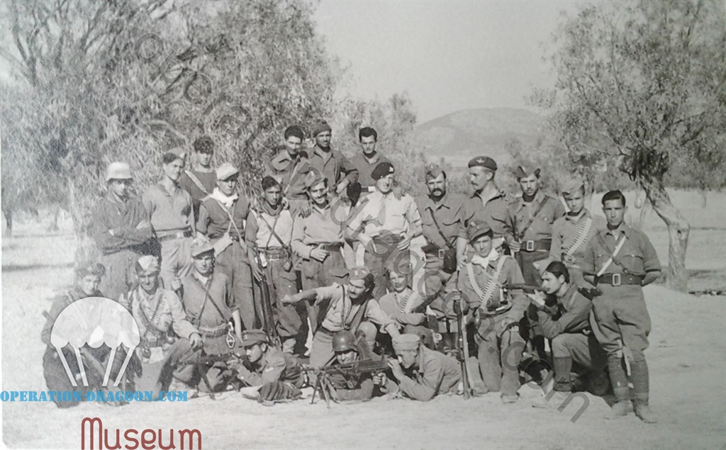 Lt Jock BOYD and Captain Peter BAKER posing with ELAS partisans, they are still our friends on 15 october 44, Greece.