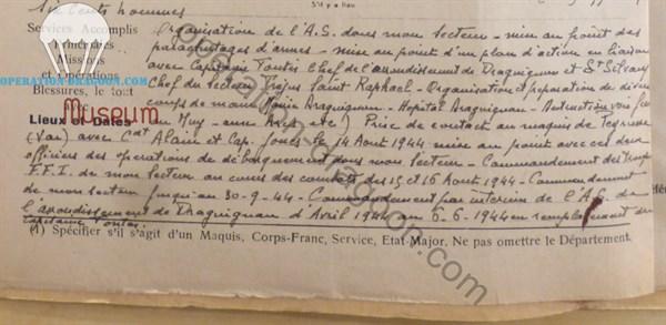 Authentique rapport de la main du commandant Jean Marie BLANC.
