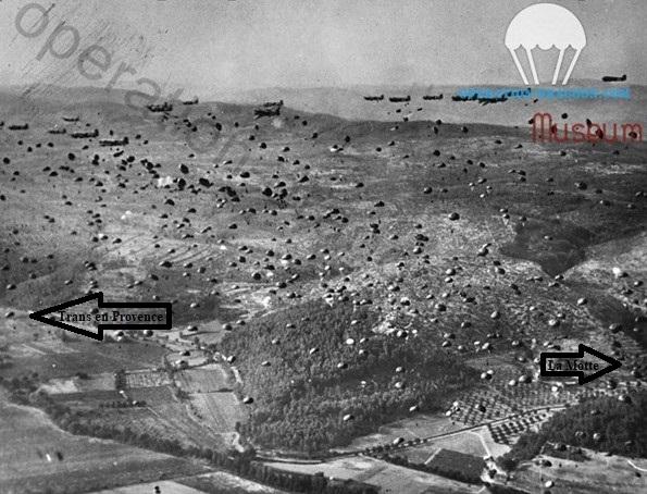 """Largage du 551em bataillon Parachutiste vers 18 heures le soir du 15 août sur la zone """"A"""". Valbourges, Sainte Roseline, Trans en Provence"""