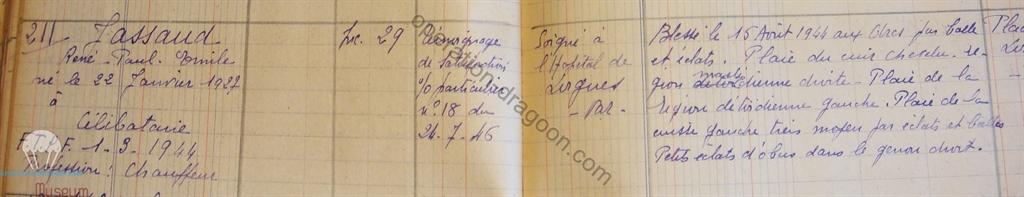 Extrait du registre des bléssés departement du var ( archives Vincennes )