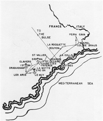 Advance from the drop zone to the Italian Border of the 517th RCT