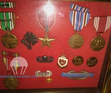 Charlie Bandy military medals for 23 monthes oversea, his parachute wings, gliderborne wings, collars engineer insignias, combat infantry badge and bronze star medal for either heroic achievement, heroic service