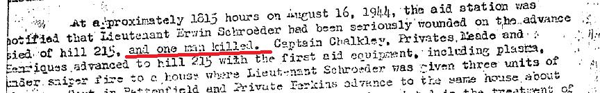 Extrait du rapport du 551em mentionnant la perte de Jack FUNK.  551st medical report extract. 16th aug 44