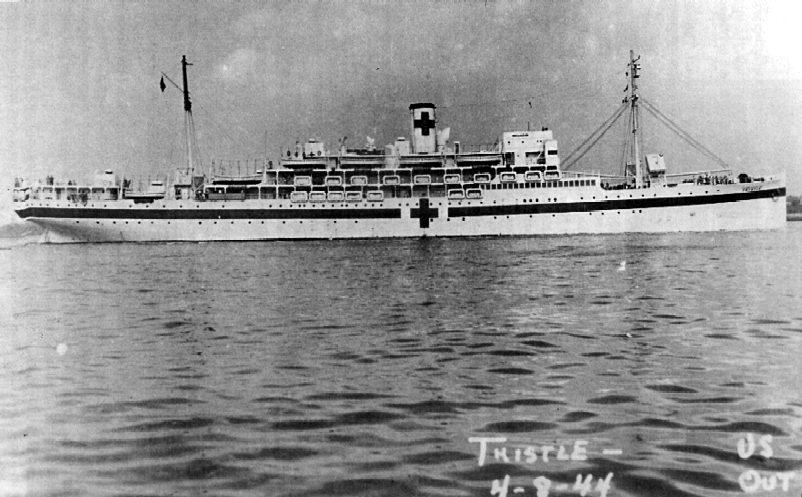 USAHS Thistle, United States of America Hopital Ship. Navire hopital Le Thistle, sur lequel Raoul UGOLINI fut pris en charge par le corps médical Américain