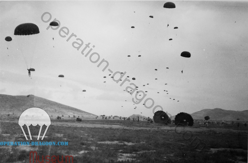 Drop on Megara for operation MANNA, a terrible wind that day made a lot of casualties during the jump. October 1944, Greece.