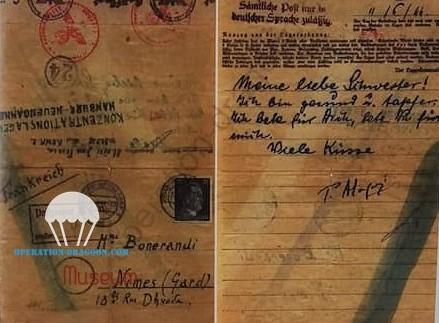"""carte envoyé à sa soeur depuis le camp de Neuengamme  ,écrite en langue allemande probablement par un garde le 11 juin 1944 elle ne fut posté par les Allemands que le 23 juillet . """"Ma chère soeur, je suis en bonne santé, Je prie pour toi, priez pour moi."""""""