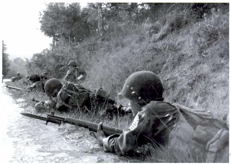 """F"" Company troopers progressing between La Motte and Trans en Provence, August 15, 1944"