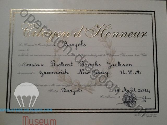 Diplome de citoyen d'honneur de la ville de Barjols décérné par le maire de la ville en 2014.