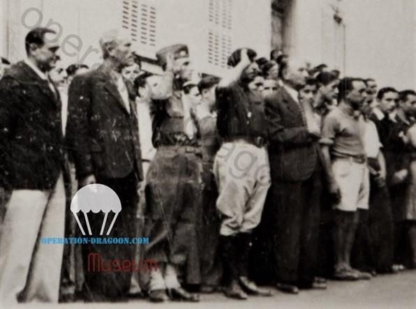 Jean Marie BLANC, (au ventre, beret au salut)  commandant en chef des forces de la résistance du secteur Les Arcs, La Motte, Le Muy, Trans en Provence, Le Thoronet, Taradeau, Vidauban. Il commandera près de 600 hommes.(photo prise fin aout 1944 au Arcs.)
