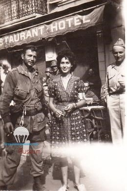 509's paratrooper with French resistant Nicole CELEBONOVICH, in St Tropez after the liberation of the town.
