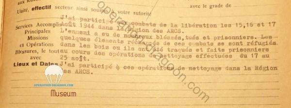 extrait de son rapport , dossier archives des armées, Vincennes, travaux de recherches opération-dragoon.com