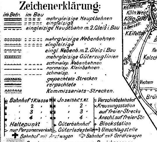 [1] Zeichenerklärung aus der Direktionskarte Wuppertal aus dem Jahre 1938