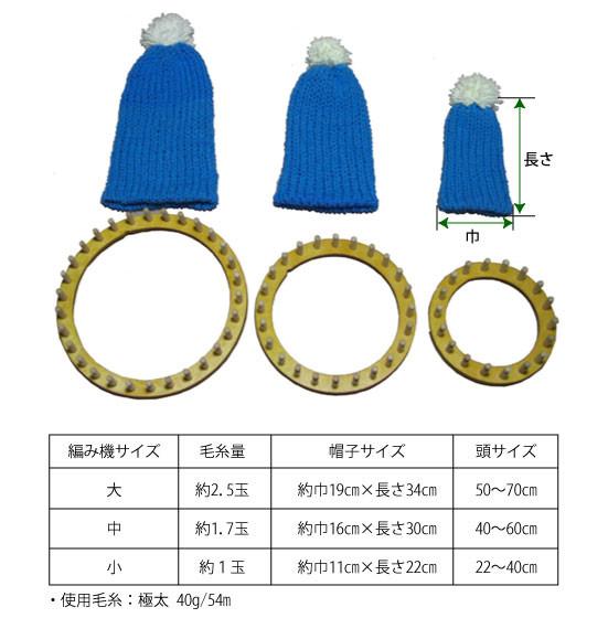 スプールウィービングによる帽子のサイズ例と毛糸量の目安