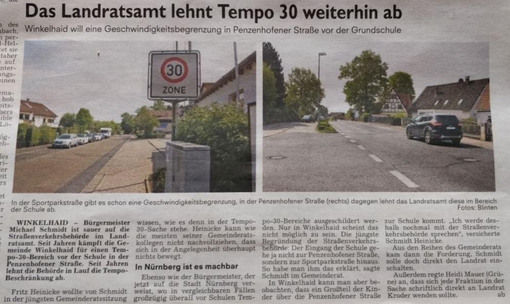Aus dem Boten vom 03.05.2018 - Das Landratsamt lehnt Tempo 30 weiterhin ab (Winkelhaid)