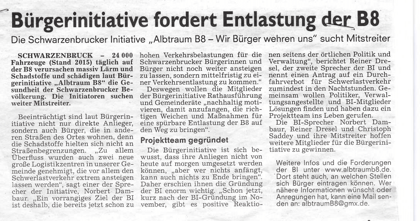 Aus dem Boten vom 12.12.2017 - Bürgerinitative fordert Entlastung der B8