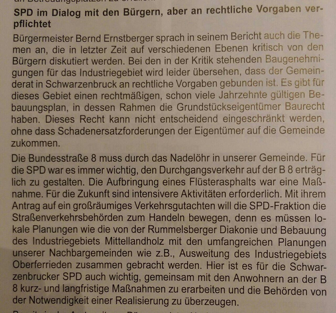 Mitteilungsblatt Schwarzenbruck (04/2018) - SPD im Dialog mit den Bürgern zum Industriegebiet/Logsitikzentren