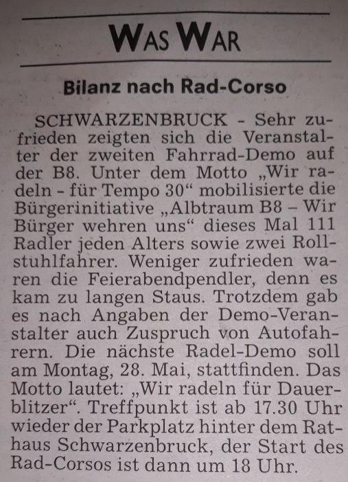 Aus dem Boten vom 08.05.2018 - Bilanz nach Rad-Corso