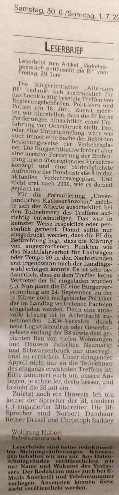 Leserbrief vom 30.06.2018 zum Behördentreffen vom 18.06.18 in Schwarzenbruck