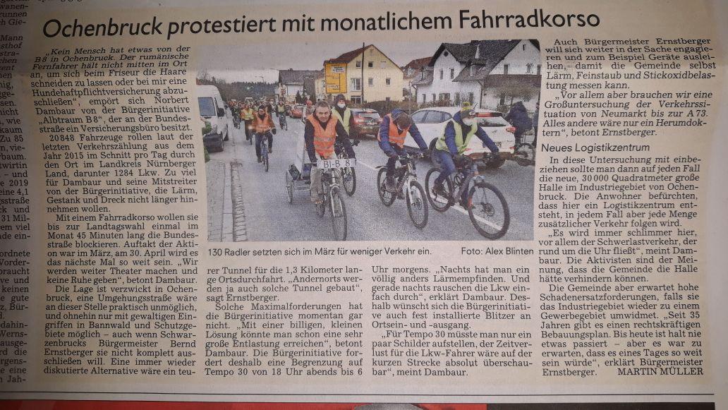 Aus dem Boten vom 20.04.2018 zur 1. Fahrrad-Demo - Ochenbruck protestiert mit monatlichen Fahrradkorso