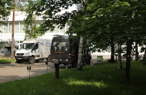 Hier mal unser netter Stellplatz in Sokolniki Park.