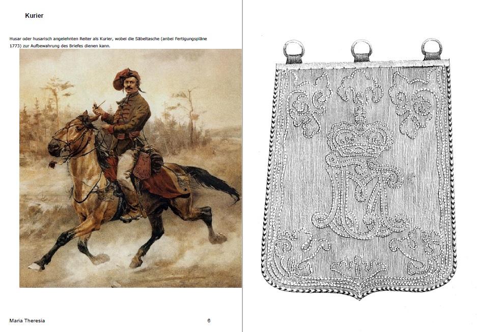 Unterlagen Säbeltasche eines Husaren um 1770 - Anfertigung nach Foto für Filmprojekt