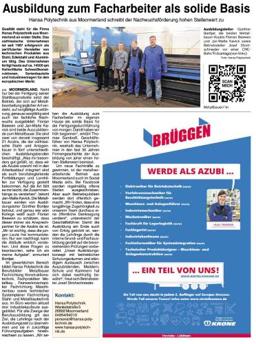 Ausbildungssonderbeilage des Metall- und Maschinebaunetzwerkes der Ems-Achse, August 2017, Seite 23