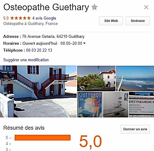 Avis Google Philippe BOISFER ostéopathe à Guéthary