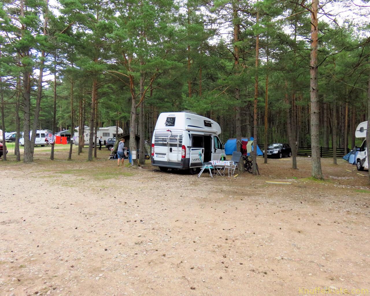 unser Stellplatz auf dem Camping in Nida