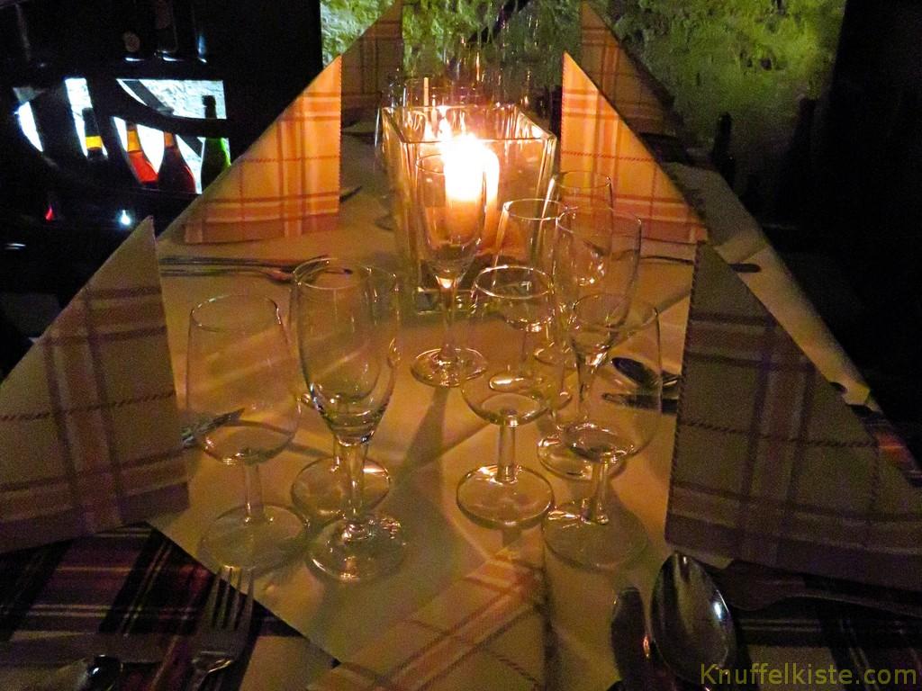 unser Tasting Tisch am Abend