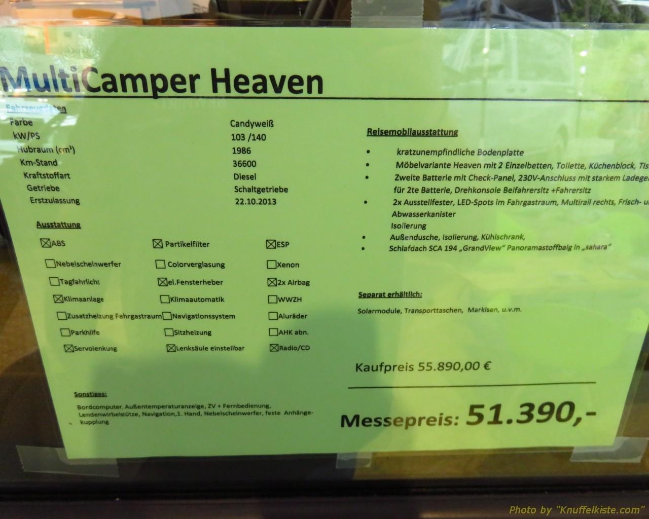 Preisschild Multicamper anderer Campingbus...