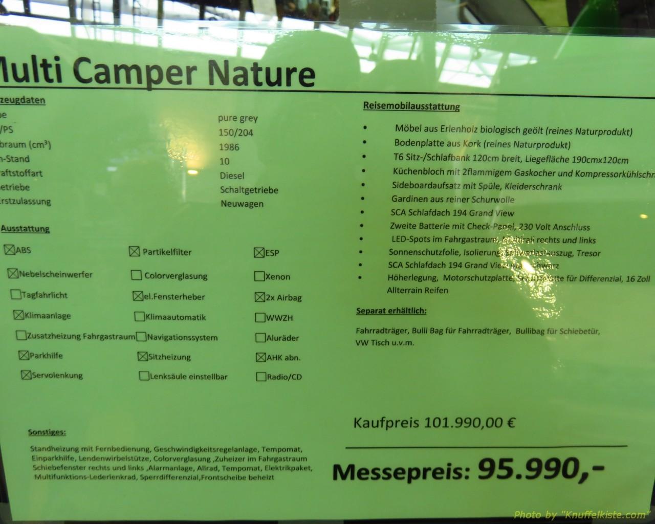 Firma Multicamper Preisschild des...