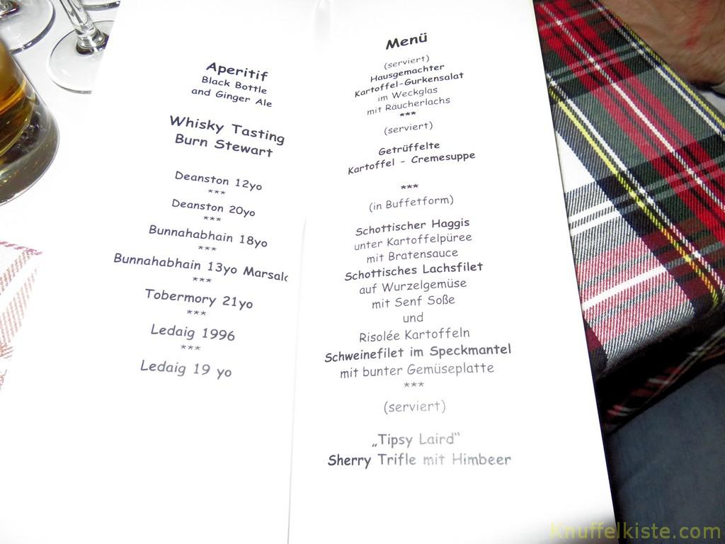 Karte zum Tasting-Dinner