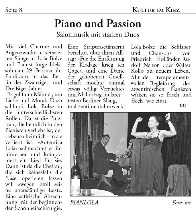 Pianlola Artikel in Berliner Woche Neuköln Ausgabe vom Februar 2012 - Autor: mr