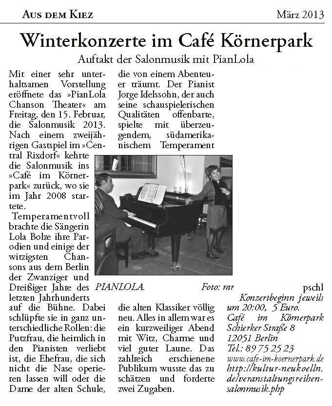 Pianlola Artikel in KuK Neuköln Ausgabe vom März 2013 - Autor: pschl
