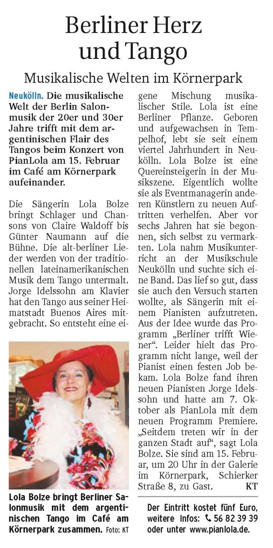 Pianlola Artikel in Berliner Woche Neuköln Ausgabe vom Februar 2013 - Autor: KT