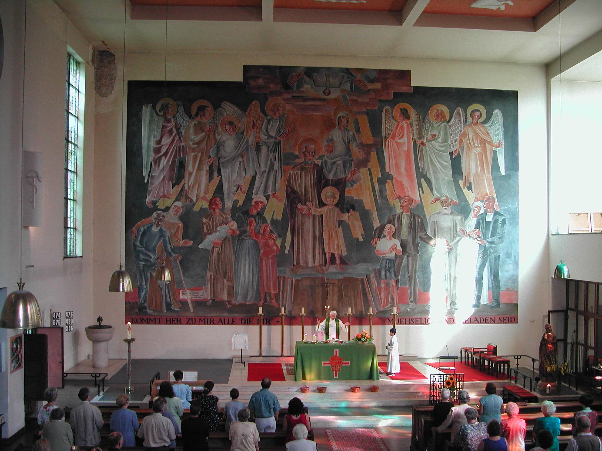 Altarbild von Hans Andre, im Mittelpunkt der hl.Josef mit dem kleinen Jesus.