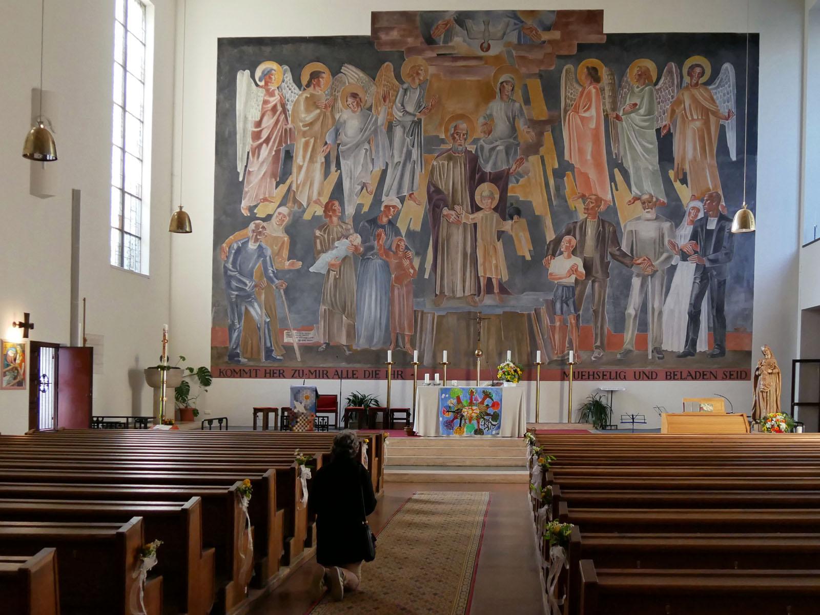 Altrabild von Hans Andre, im Mittelpunkt der Heilige Josef mit dem kleinen Jesus