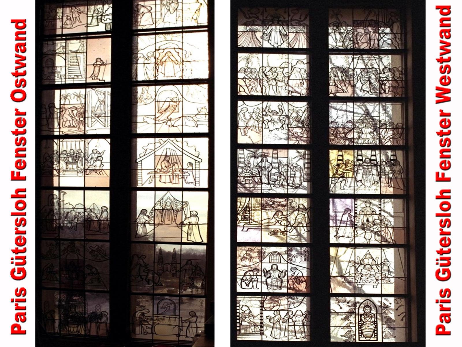 Glasfenster von Paris Gütersloh, links und rechts vom Altar