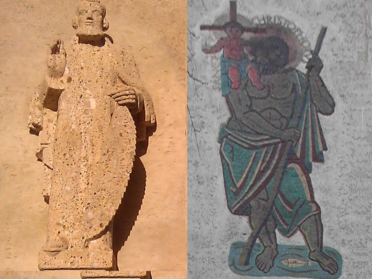 Links: Statue des hl.Josef (aus Sandstein). Rechts: Mosaik des hl.Christophorus.