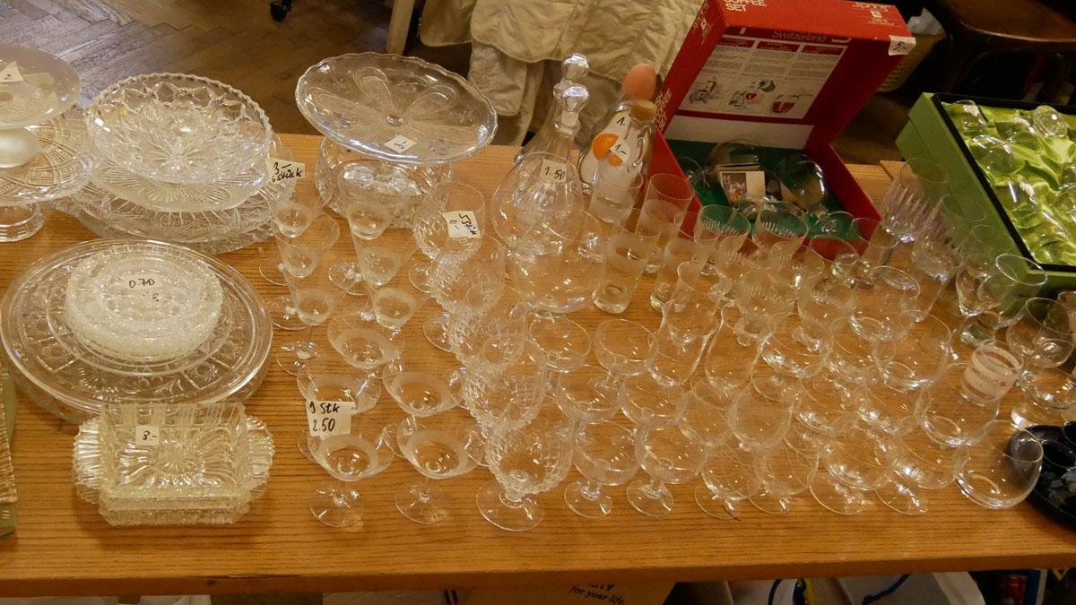 Likör-, Aperetiv- und Cognacgläser, Glaskaraffen