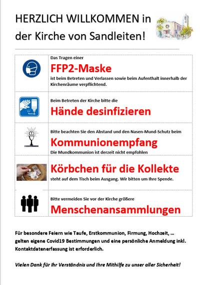 Plakat mit Corona Regeln am Kircheneingang, September 2021 (PDF).