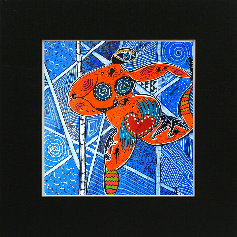 Aboriginees LoveDance mit Passepartout 60x60cm