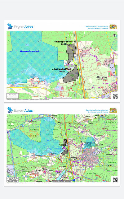 Karte geplantes Industriegebiet Allersberg West I und II