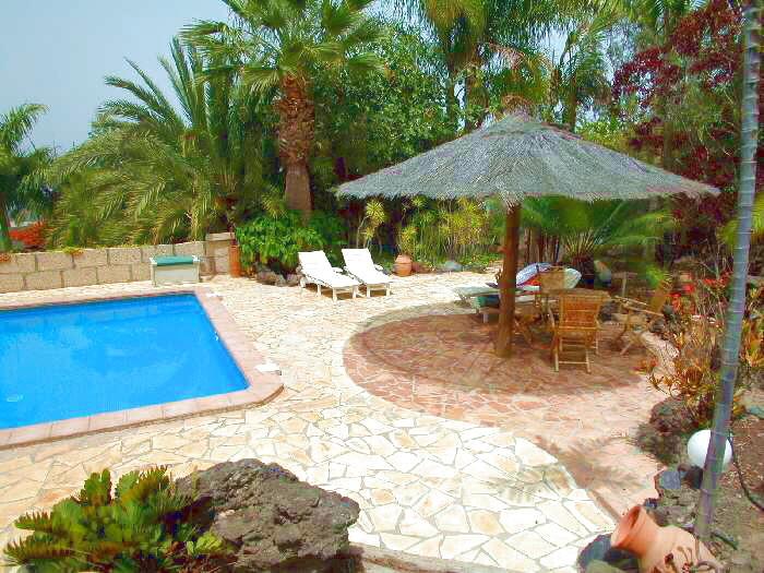 Pool mit suptropischen Flair der Urlaubsvilla