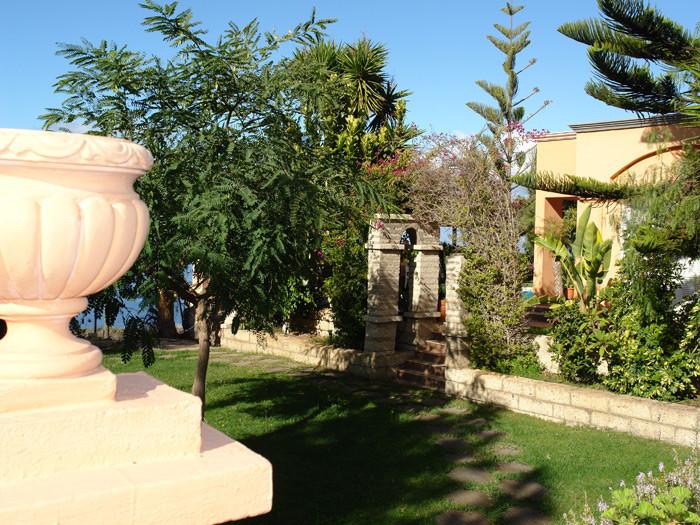 Grosser Garten mit suptropischen Pflanzen.