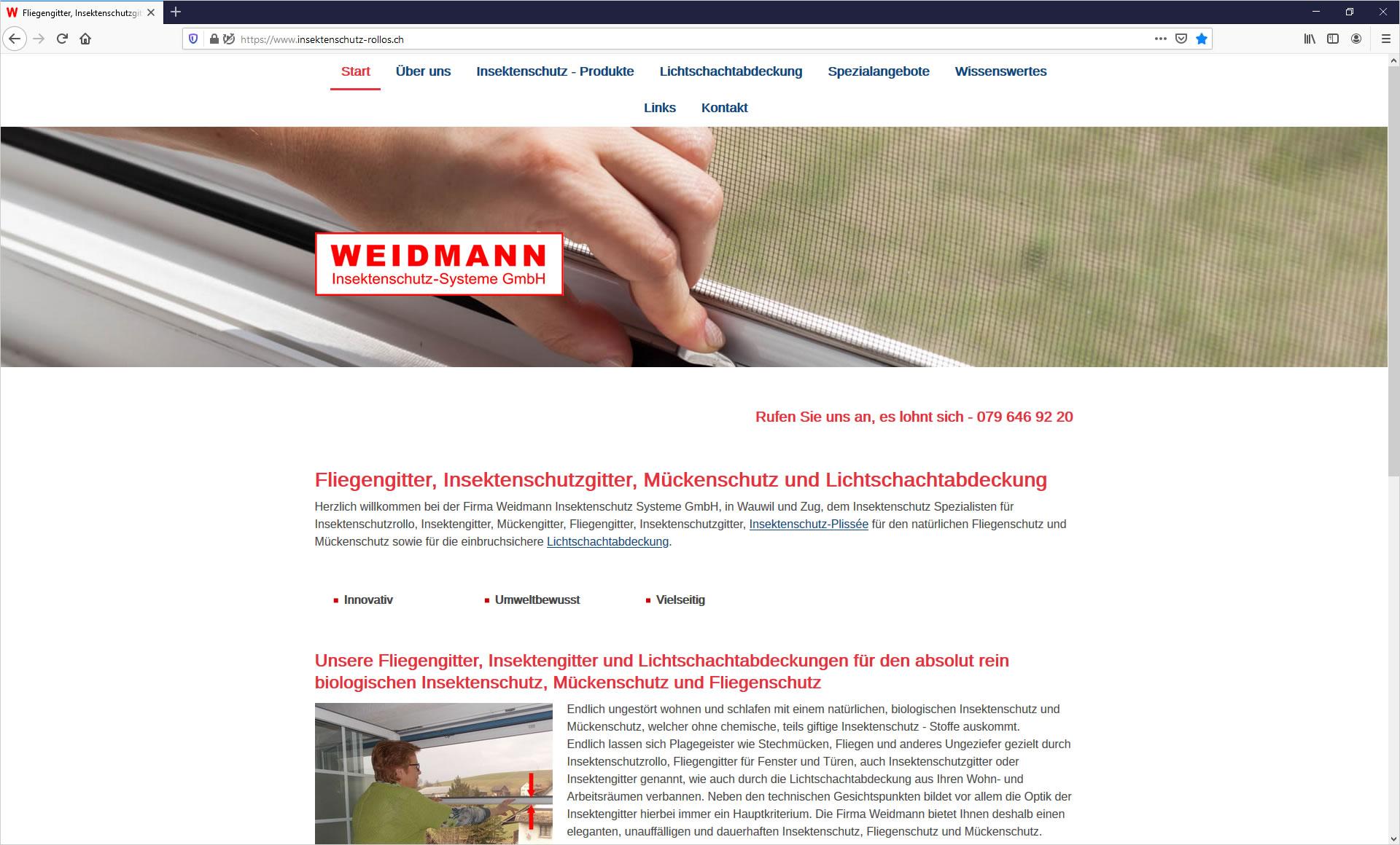 Weidmann, Insektenschutz-Rollos und Systeme
