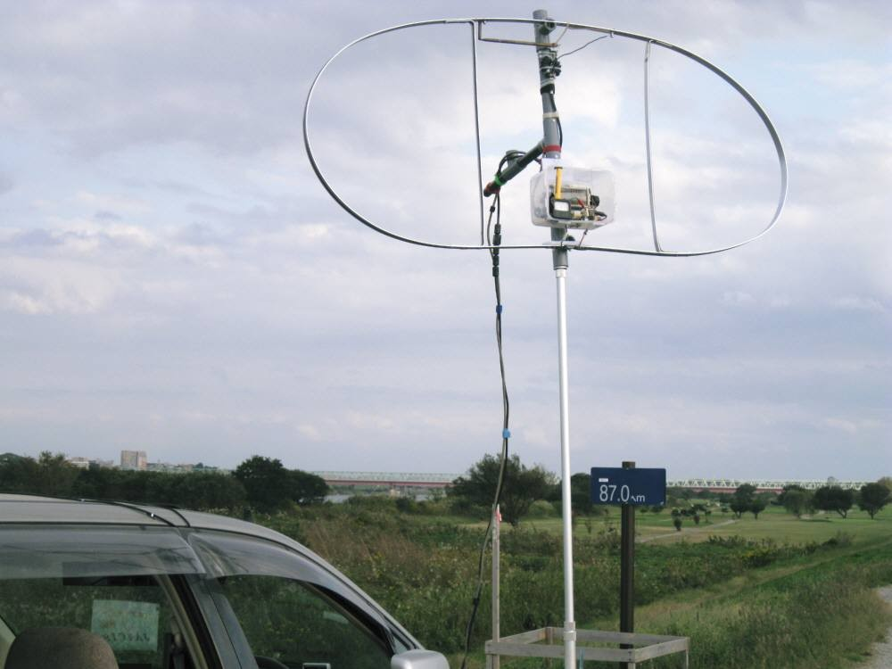 全周長400cm(内L260cm)MLA:ダブル・ループMLA:CIS-MLAと命名:(自作1:1バランを給電部に入れて垂直設置運用)
