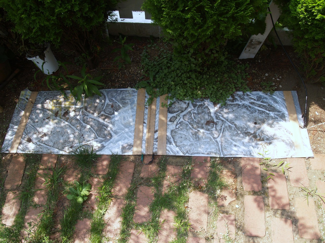 地上高ゼロメートル給電アルミ板ANT:2枚アルミ板(45x180cm)ANTの自宅設定状況