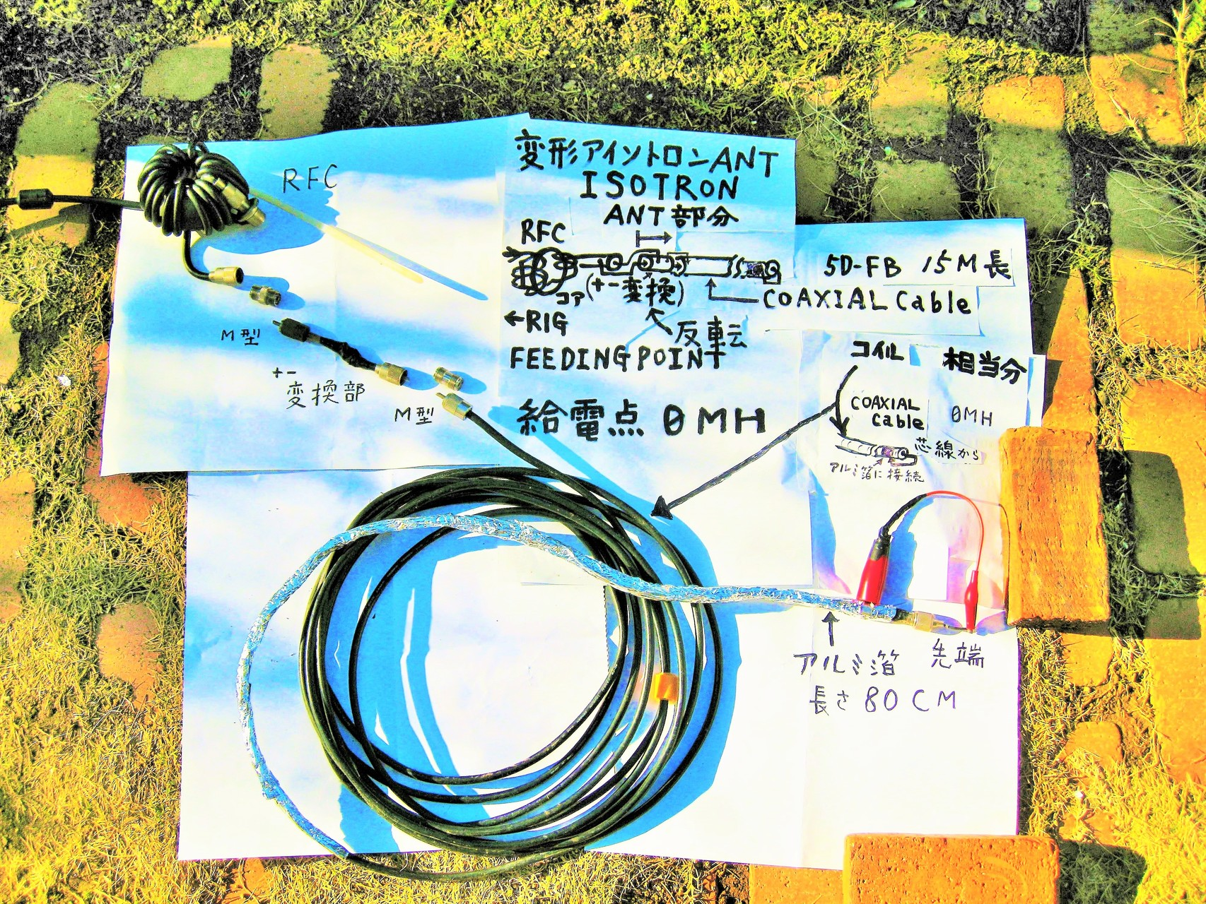 0mH/5D-FB等15mCOAXIAL Cable±反転同軸先端芯線を外被巻きつけアルミ箔に接続:変形アイソトロン(Isotron)ANT