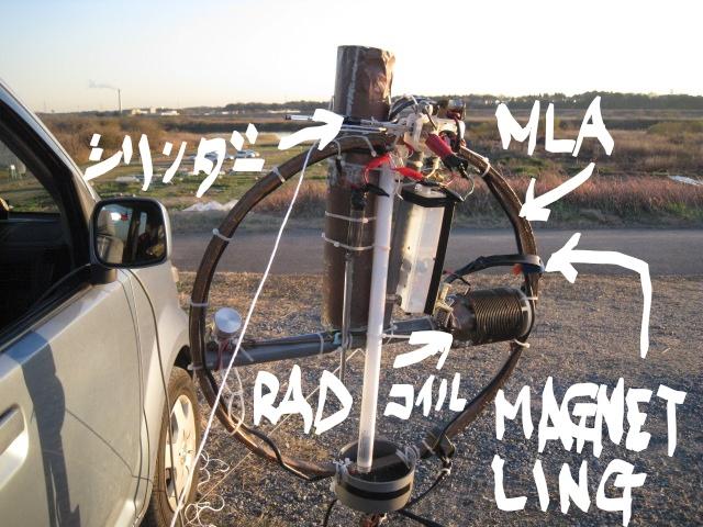 LOOP頂部電極間に水晶塊接続(高周波電圧上昇?・・・蛍光管の輝きが上昇)同軸線ケーブル三回巻きで給電/RADタンクコイルに帯MAGNET-LINGを貫通させMLA主LOOPにリンク
